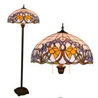 16 zoll Tiffany Barock Glasmalerei stehleuchte E27 110-240 V für Ausgangswohnzimmer Esszimmer bett Zimmer stehen lampe