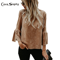 Cova Sophy 2017 Autumn Winter Women Long Sleeve Blouses New Fashion High Street O Neck Flare