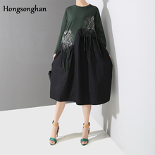 Hongsonghan 2019 spring new vintage womens O-neck collar sukol dress A-line print tassel and spliced fringed dresses tide