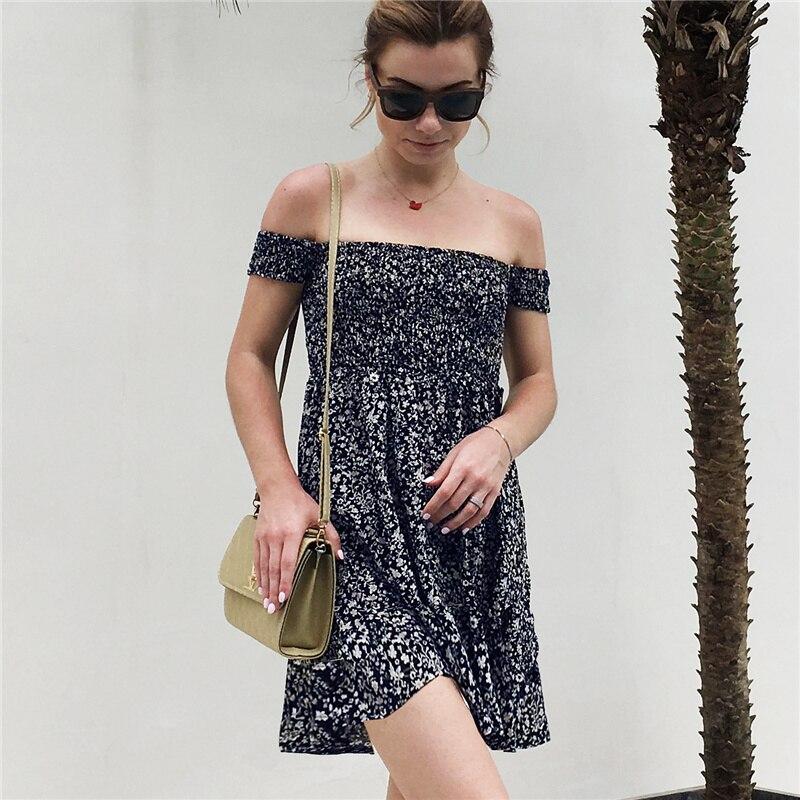 Print Flower Off Shoulder Dress Women Summer Dress 2019 Strapless Short Sleeve High Waist Fit and Flare Sexy Dress Party Dresses