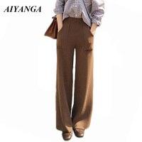 Female Woolen Pants 2018 Autumn Winter High Waist Woolen Wide Leg Pant Loose Women Casual Trousers Solid Color Black Apricot