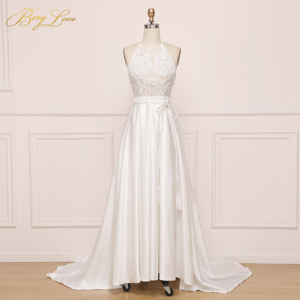 BeryLove Illusion A Line Ivory Wedding Dresses 2019 Halter Embroidery Lace Satin Wedding Gowns Women Bridal