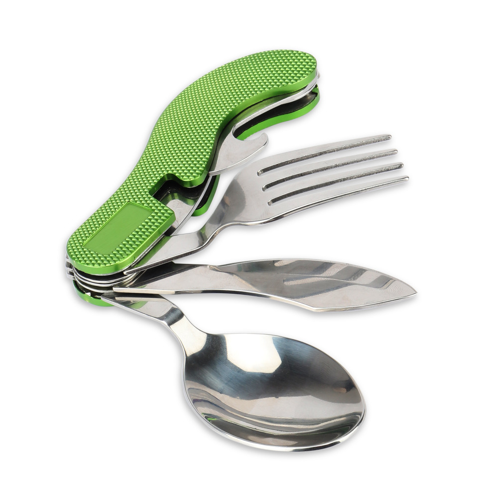 JAKEMY Multifunction Outdoor Folding Tableware Stainless Steel Pocket Knife Fork Spoon Bottle Opener Camping Picnic Tool Set outdoor fork spatula clamp barbecue tool accessory set