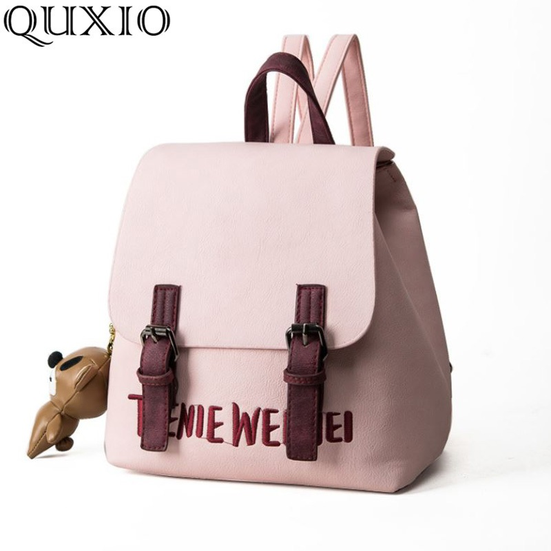 Women's Bags 2018 New Fashion Causal Ladies College Style Pu Leather Fashion Wild Letter Embroidery Backpack Jxx01