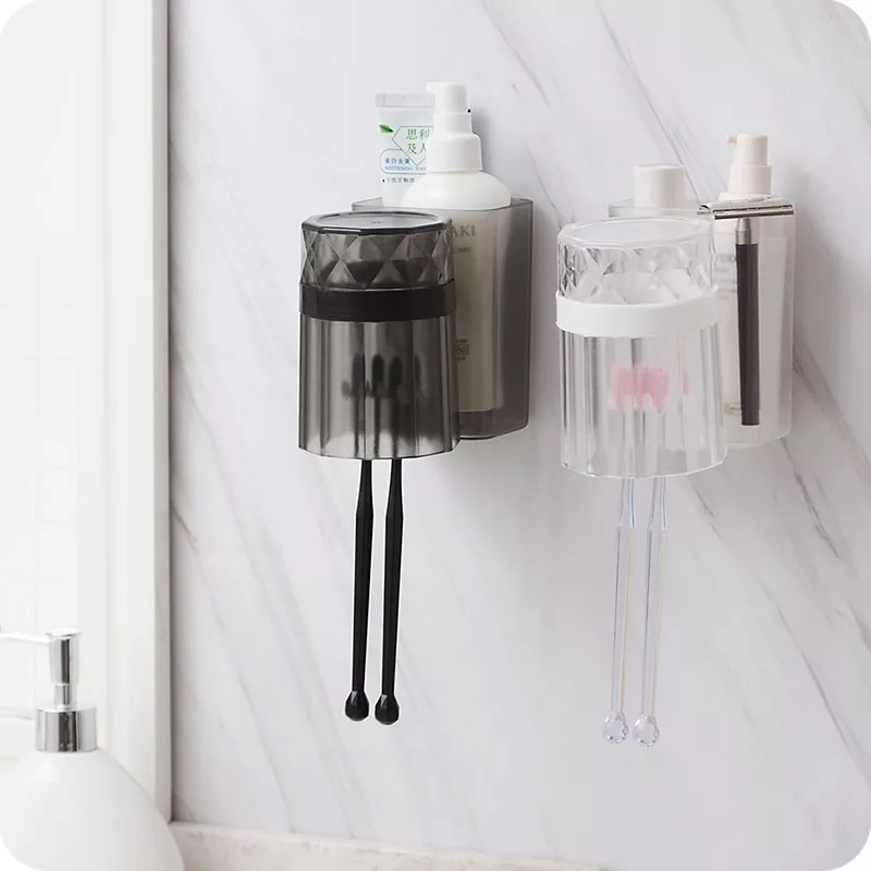 Toothbrush holder Transparent mug Punch free tooth brush For Firm Fixation bathroom set holder bathroom accessories image