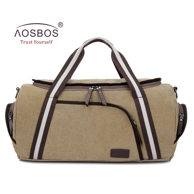 79a3fc39b599 Aosbos 2018 Canvas Gym Bag Men Women Sports Bag Professional Training  Fitness Bags Outdoor Traveling Duffel Shoulder Handbags