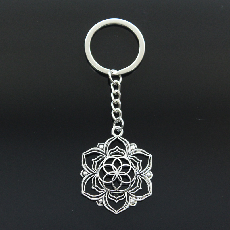 Hot Fashion Yoga Flower Of Life Datura Stramonium 43x35mm Pendant 30mm Key Ring Metal Chain Silver Color Men Car Gift Keychain