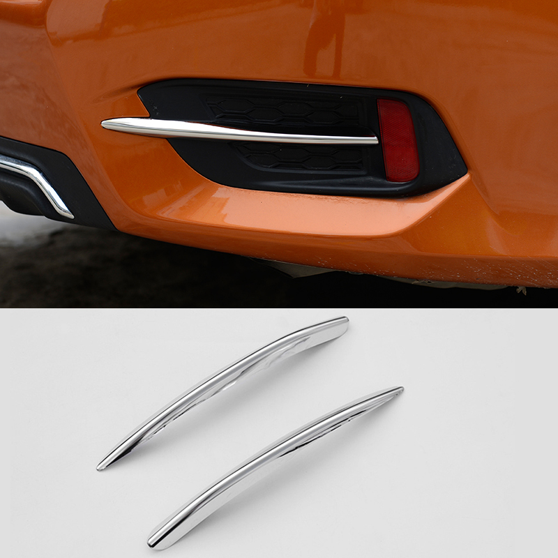 FIT FOR 2016 2017 HONDA CIVIC CHROME REAR FOG LIGHT LAMP EYEBROW BUMPER LID EYELID TRIM COVER BEZEL STYLING GARNISH MOLDING lapetus for honda civic 2016 2017 2018 abs dashboard central control console air conditioning panel molding garnish cover trim