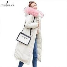 PinkyIsBlack New 2019 Winter Coat Women Military Outwear Hooded Snow Long Parka Thicken Down Cotton Warm Fur Jacket