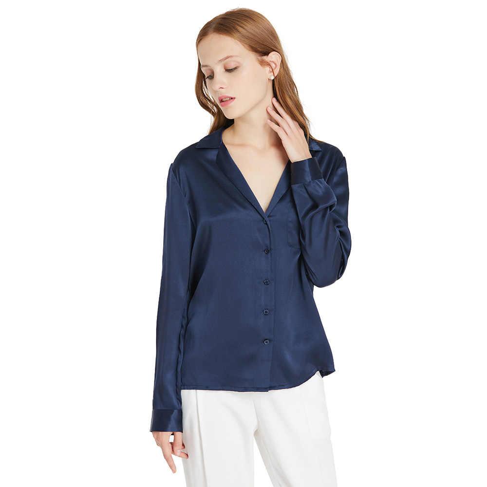 e4a021735bb817 LILYSILK Shirt Blouse Women Feminine Silk 22MM V Neck Simple Ladies Free  Shipping Clearance Sale