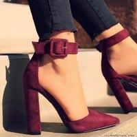 Moda Mujer tacones altos Mujer Zapatos puntiagudos mujeres Zapatos Mujer fiesta tobillo Correa bomba verano sandalias