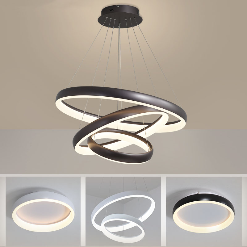 White black brown Rings Modern led chandelier for Living room bedroom kitchen chandelier lustre suspension chandelier lighting in Chandeliers from Lights Lighting