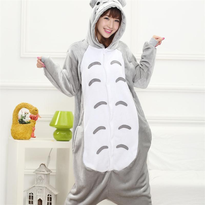 79c9878363 Totoro Kigurumi Onesie Adult Women Animal Pajamas Suit Flannel Warm Soft  Sleepwear Onepiece Winter Jumpsuit Pijama Cosplay