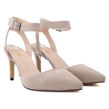 Marke Neue Knöchel Schnalle Spitz Pumpen Sexy Sandalen High Heels Frauen Sommer Schuhe Faux Wildleder Schuhe