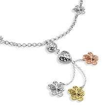 Модный серебристый длинные женщины ожерелье. Beautiful plum цветок кулон серебро 925. Очаровательная леди в форме сердца кулон ожерелье