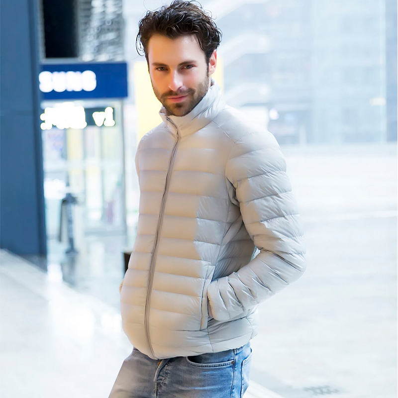 Winter Men Thin Down Coats Fashion Business Casual Men Coat & Jackets Hot Sales Slim Warm and Comfortable Clothing Multi-color S