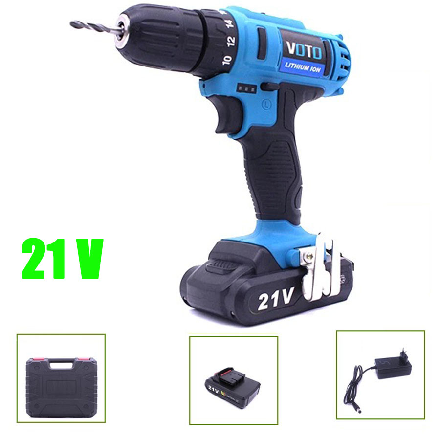 VOTO Battery Rechargeable Cordless Drill Electric Screwdriver Set Lithium Power Tools Screw Gun Driver 21V With Case Blue 2018 цены онлайн