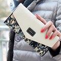 2016 Горячие Продажа Конверт Женщины Кошелек Хит Цвет 3 Раза Цветы Печать 5 Цветов PU Кожаный Бумажник Длинные Дамы Сцепления Портмоне