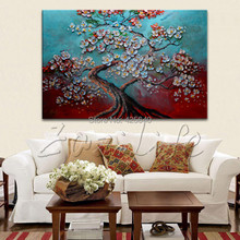 1 Piece Hand Painted Palette Knife Colorful Tree Oil Painting Wall Art Canvas Picture Modern Abstract Home Decor Living Room Set