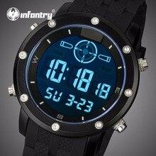 INFANTERÍA Hombres Aviador Militar Correa De Caucho Deportes LED Digital relojes de Pulsera de Lujo Marca de Relojes de Mesa Masculino Del Relogio masculino