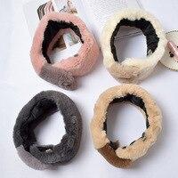 Head Fur Scarf Ring Women Winter Rabbit Scarves Wraps Korean Cute Warm Headband Scarf Shawl Neckcloth