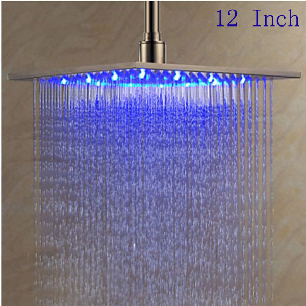 12 Inch Stainless Steel Brushed Shower Head Led Changing Color Rain