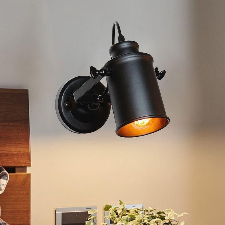 Retro Indoor Lighting Black Wall Lamp Industrial Loft Wall Mounted Bedside Wall Lighting Adjustable Spot Wall Lamp for Home(26)