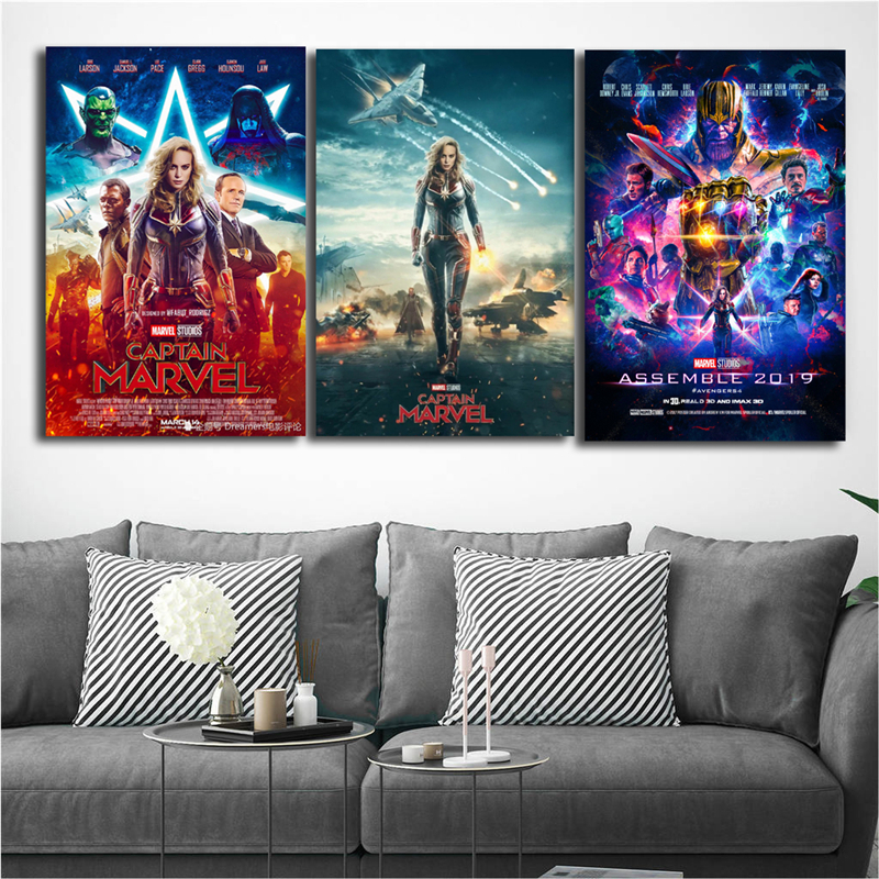 US $5.7 5% OFF|Avengers 4 Captain Marvel Canvas Posters Prints Wall Art  Painting Decorative Picture Bedroom Modern Home Decoration Accessories-in  ...
