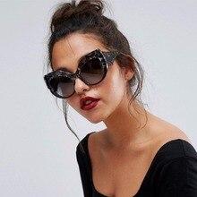 MARC WOMEN Cateye  fashion Sunglasses Trendy Gradient Oversized Brand Plastic Goggle Resin Leopard eyewear Man UV400