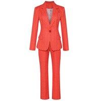 HIGH QUALITY New Fashion 2019 Deesigner Runway Suit Set Women's Charming Floral Plaid Single Button Blazer Pants Suit