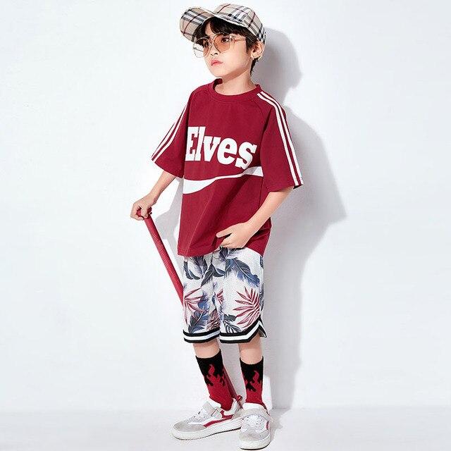 Summer New Boys Street Dance Tide Hip Hop Jazz Dance Costume Kid'S Hip-Hop Clothes Children Costume Fashion DQL134