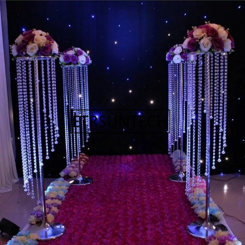 10pcs 69cm 110cm Wedding Road Lead Acrylic With Crystal Europe Wedding Centerpiece Event Party Decoration Spiral Flower Vase