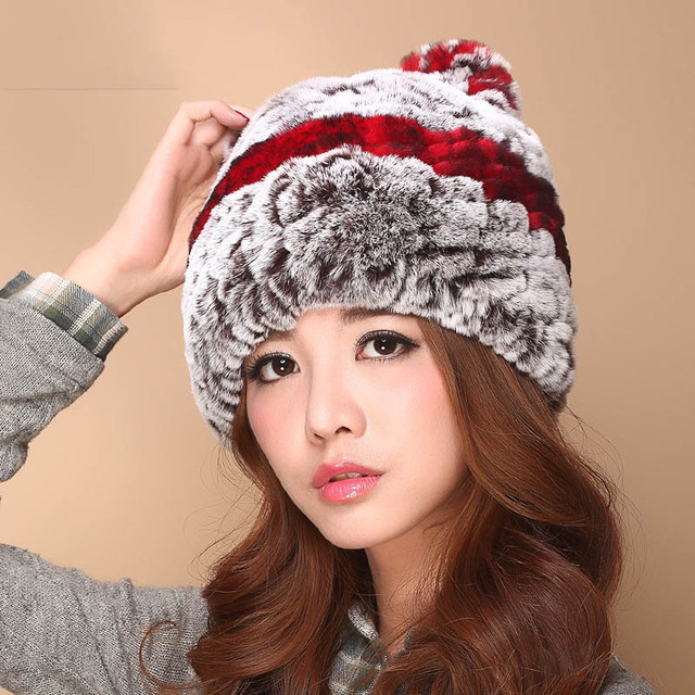 Autumn Winter Women Rex Rabbit Fur Hat Woven Thickened Sweet  Ear Hat Warm Woolen Headwear Genuine Winter Fur Headgear Beanies