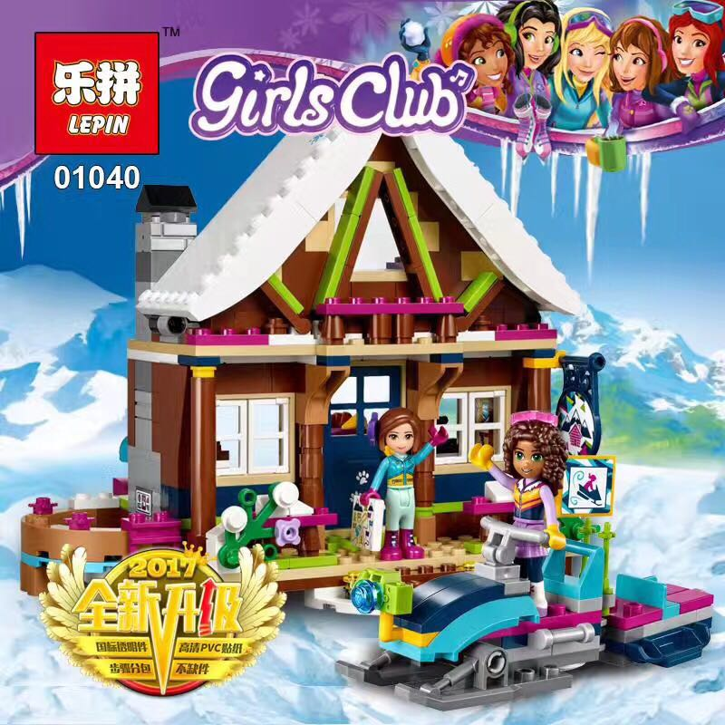 Lepin 01040 Friends Girl Series 514pcs Building Blocks toys Snow resort chalet kids Bricks toy girl gifts Compatible Legoe 41323 lepin 01040 friends girl series 514pcs building blocks toys snow resort chalet kids bricks toy girl gifts lepin bricks 41323