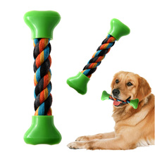 Creative Pet Dog Puppy Supplies Plastic Cotton Braided Chew Knot Bone Toy Rope Chew Knot Toys Dog Supplies