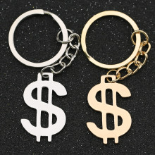 US Dollar Keychain Money American Sign Symbol Logo Silver Color Keyring Key Holder Chain Ring Stainless Steel Jewelry Wholesale
