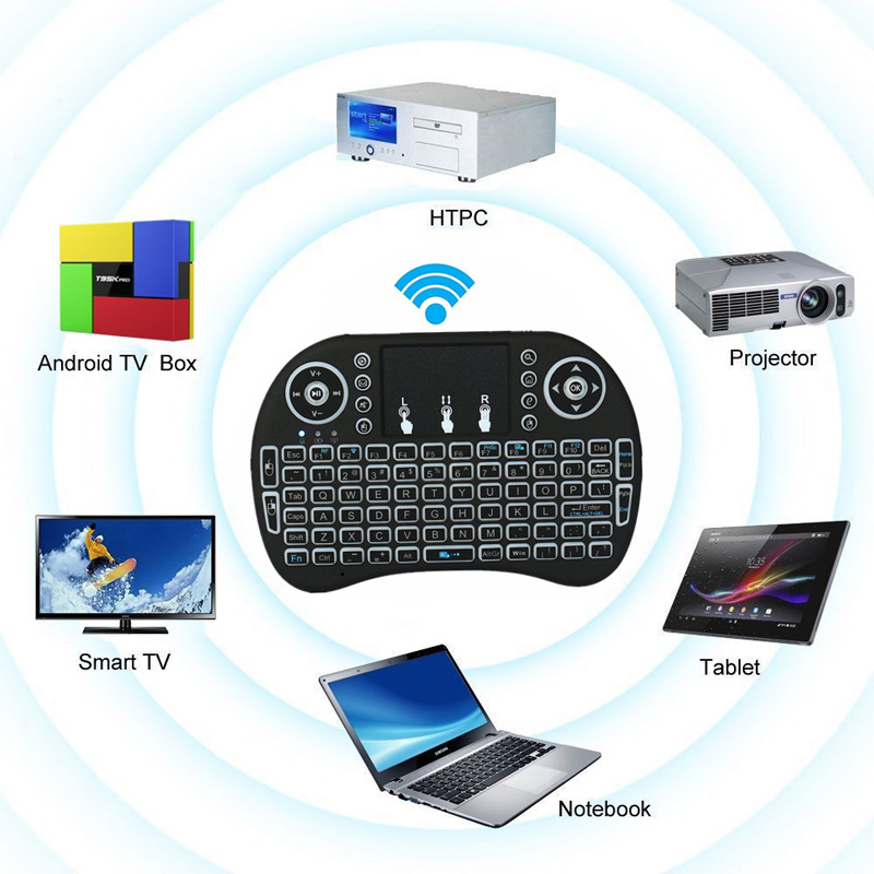 Backlit Wireless Keyboard BK8 With Touchpad Multimedia Keys Keyset For PC Pad Android/Google TV Box HTPC IPTV PS3 SL@88