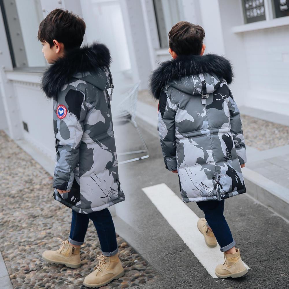HSSCZL 2019 canard hiver garçons Camouflage doudoune moyenne longue enfants garçon manteau enfants naturel col de fourrure vêtements d'extérieur à capuche 8-16Y