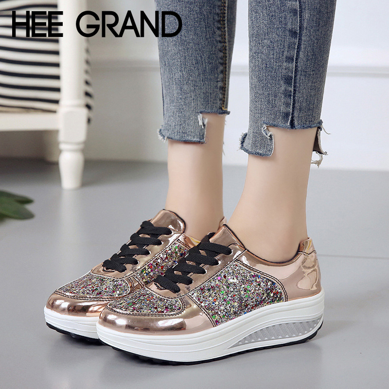 HEE GRAND Platform Creepers Bling Glitter Shoes Woman Lace-U