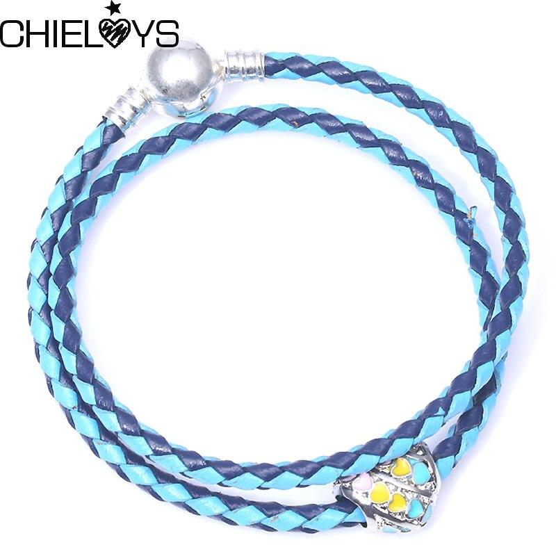 CHIELOYS Fashion European Bracelet With Rainbow Bead Charm Leather Chain Pandora Bracelet For Women Jewelry Gift LB011