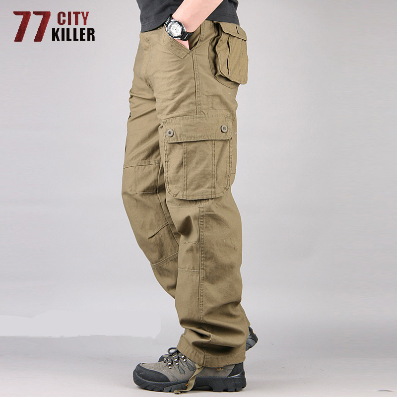 Cargo Pants Men Cotton Multi Pockets Military Tactical Mens Pants Streetwear Straight Slacks Outwear Long Trousers Male 29-44
