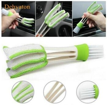 1PCS Portable Double Ended Car Air Conditioner Vent Slit Cleaner Brush Instrumentation Dusting Blinds Keyboard Cleaning Brush image