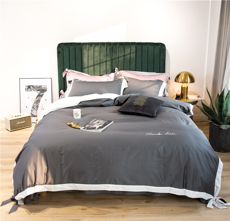 Luxury Egypt Cotton solid colors bowknot Bedding Set Embroidery Splicing color Duvet Cover Sets Bed Sheet Queen King size 4PcsLuxury Egypt Cotton solid colors bowknot Bedding Set Embroidery Splicing color Duvet Cover Sets Bed Sheet Queen King size 4Pcs