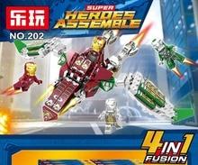 цена на 4Pcs Marvel Avengers 4 DC Super Heroes Iron Man Anti-Hulk Model Set Building Blocks Toys For Children