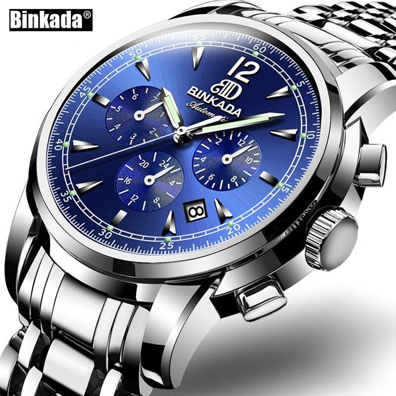 Men's Sports Military Wrist Watch Luxury Brand BINKADA Automatic Mechanical Business Male Steel Strap Watches relogio masculino