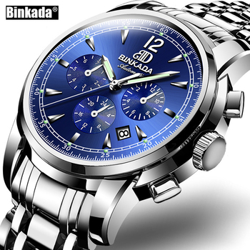 Hommes sport militaire montre-bracelet de luxe marque BINKADA automatique mécanique entreprise mâle bracelet en acier montres relogio masculino