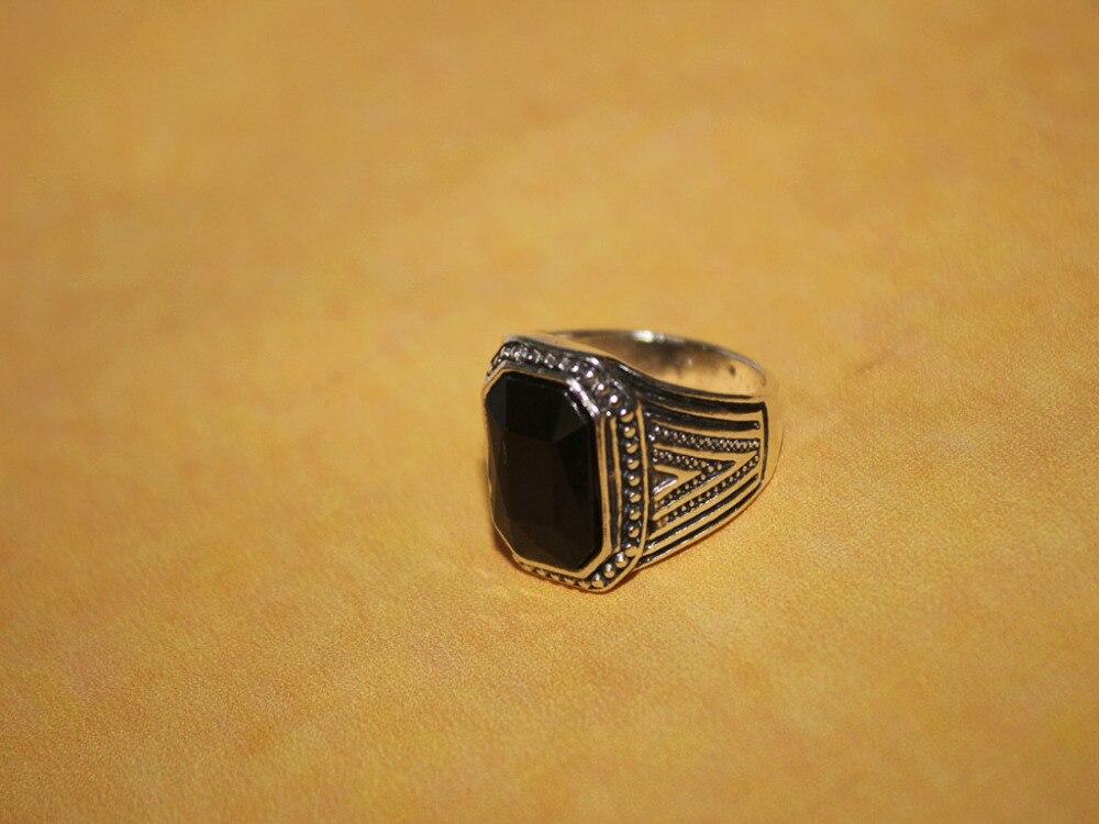 2015 june new design black glass stone Male Finger Ring Gypsy ...