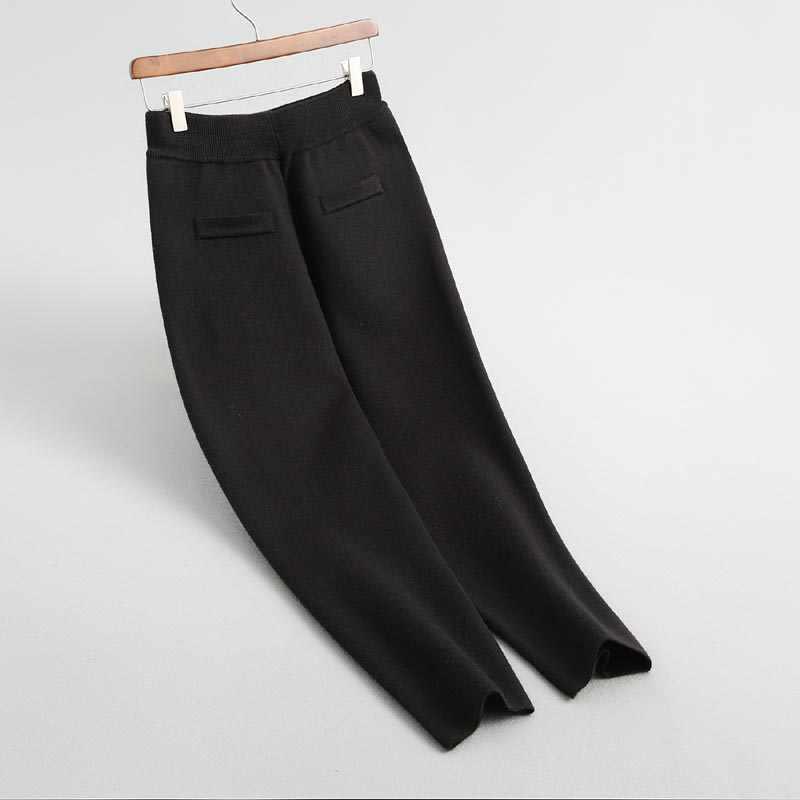 J1971 여성 간략한 솔리드 컬러 더블 포켓 높은 허리 스웨터 바지 숙녀 우아한 가을 겨울 따뜻한 니트 바지
