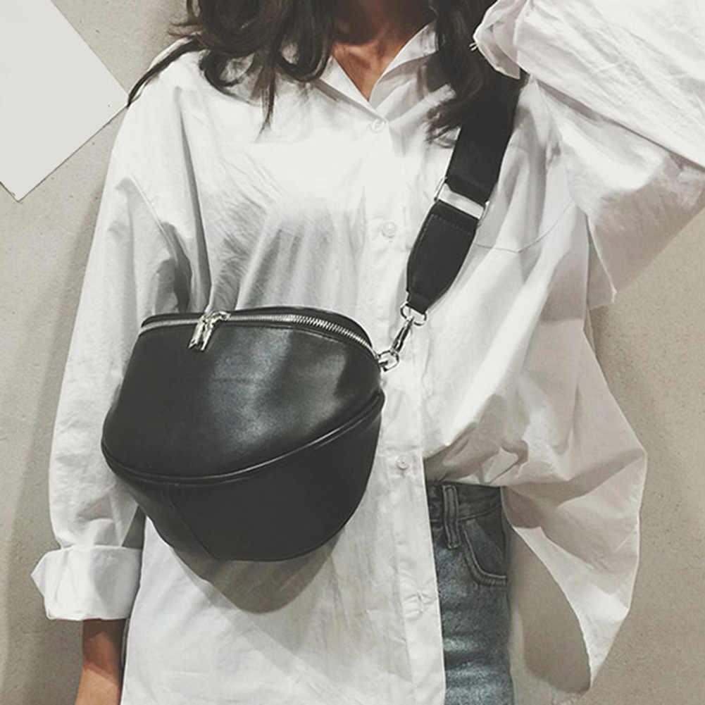 Moda Feminina Cor Sólida Zipper De Couro Falso Pequeno Ombro Crossbody Saco Shell