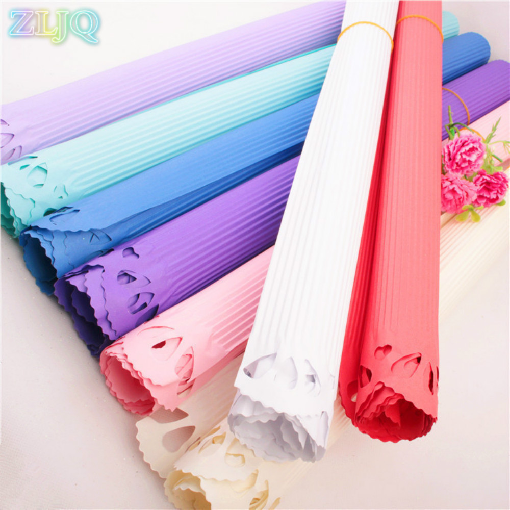 Zljq 20pcslot 50cm70cm Hollow Corrugated Paper Flowers Wrapping